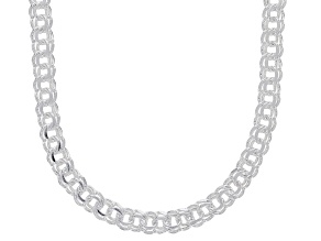 Sterling Silver 3.65MM Diamond-Cut Designer Garibaldi Chain 20 Inch Necklace