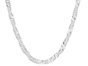 Sterling Silver 3.60MM Singapore Chain 20 Inch Necklace