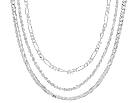 Sterling Silver Set of 3 Snake, Figaro, and Rope 20 Inch Chains
