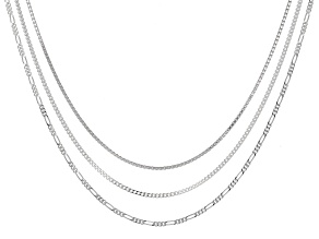 "Curb, Box, And Figaro Sterling Silver  20"" Chain Set of Three"