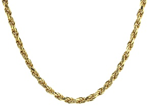 "18K Yellow Gold Over Sterling Silver 2.82MM   Diamond Cut 8 Sides 18"" Rope Necklace"