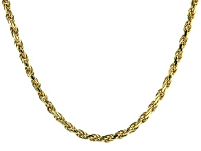 "18K Yellow Gold Over Sterling Silver 2.82MM Diamond Cut 8 Sides 20"" Rope Necklace"