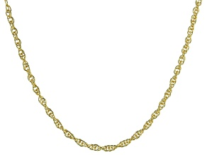 "18K Yellow Gold Over Sterling Silver 2.07MM Torchon 20"" Necklace"