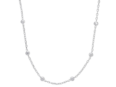 "Sterling Silver 2.30MM Oval Forzatina With Diamond Cut Beads 20"" Necklace"