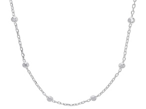 "Sterling Silver 2.30MM Oval Forzatina With Diamond Cut Beads 24"" Necklace"