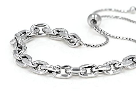 "Rhodium Over Sterling Silver Polished Bolo 9.5"" Bracelet"