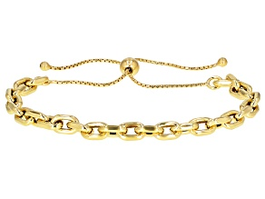 "18K Yellow Gold Over Sterling Silver Polished Bolo 9.5"" Bracelet"