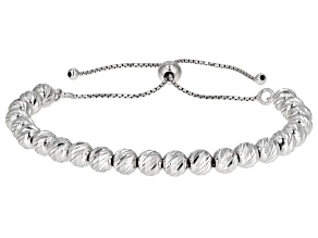 "Rhodium Over Sterling Silver Station 9.5"" Bolo Bracelet"