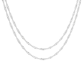 Sterling Silver Singapore Chain Set of 2 20 Inch and 24 Inch
