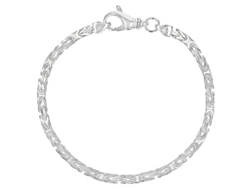 Picture of Sterling Silver 3.25MM Squared Byzantine 7.5 Inch Bracelet
