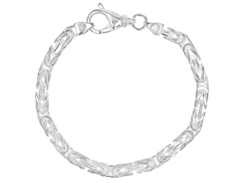Picture of Sterling Silver 4.70MM Squared Byzantine 7.5 Inch Bracelet