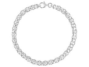 Sterling Silver 4.50MM Flat Byzantine 7.5 Inch Bracelet