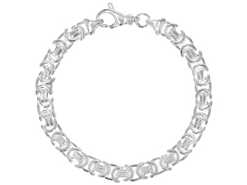 Picture of Sterling Silver 6.80MM Flat Byzantine 7.5 Inch Bracelet