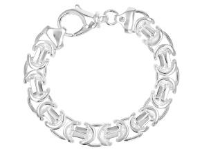 Sterling Silver 11.20MM Flat Byzantine 7.5 Inch Bracelet