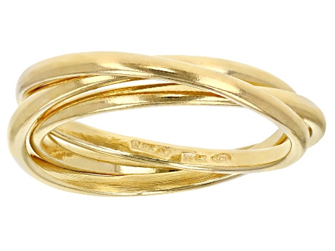 18K Yellow Gold Over Sterling Silver Polished Triple Band Ring
