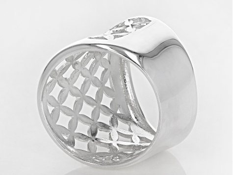 Sterling Silver Open Dome X Design Ring
