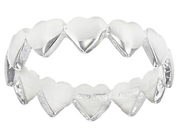 Picture of Sterling Silver Station Multi-Hearts Ring