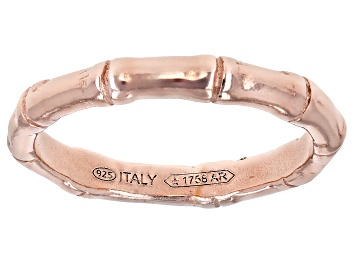 Picture of 18K Rose Gold Over Sterling Silver Bamboo Band Ring