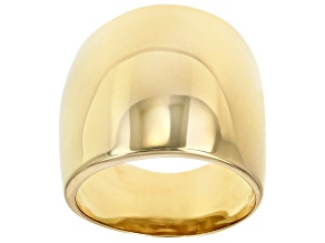 18K Yellow Gold Over Sterling Silver High Polished Dome Ring