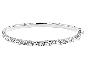Rhodium Over Sterling Silver 58.40MM Byzantine Design 7 Inch Bracelet