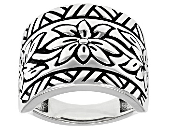 Picture of Rhodium Over Sterling Silver Oxidized Flower Design Dome Ring