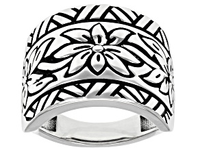 Rhodium Over Sterling Silver Oxidized Flower Design Dome Ring