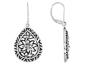Rhodium Over Sterling Silver Oxidized Flower Design Earrings