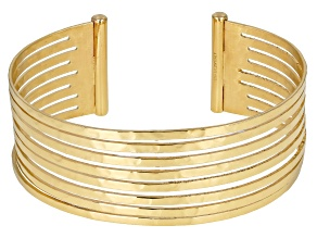 10K Yellow Gold Over Sterling Silver 19MM Hammered Cuff Bracelet