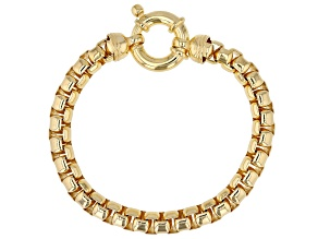 10K Yellow Gold Over Sterling Silver 7.60MM Box Link Bracelet