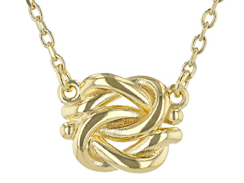 10K Yellow Gold Over Sterling Silver Knot 16 Inch Cable Chain