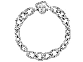 Rhodium Over Sterling Silver Alternated Rolo Bracelet