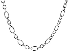 Rhodium Over Sterling Silver 20 Inch Figaro Necklace
