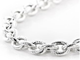 Sterling Silver 11.5MM Striped Rolo 20 Inch Necklace