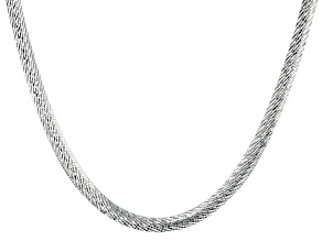 18K Yellow Gold Over Sterling Silver 6.5MM Diamond Cut 18 Inch Bombe Herringbone Link Necklace
