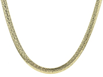 Picture of 18K Yellow Gold Over Sterling Silver 6.5MM Diamond Cut 18 Inch Bombe Herringbone Link Necklace