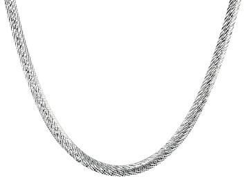 Picture of Sterling Silver 6.5MM Diamond Cut 20 Inch Bombe Herringbone Link Necklace