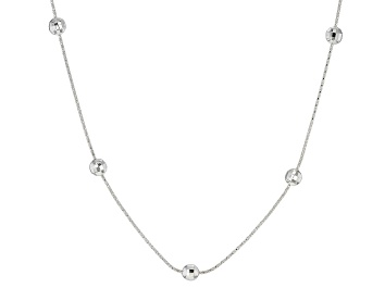 Picture of Sterling Silver Station Disco Ball 6MM Popcorn Chain 20 Inch Necklace