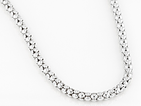 Sterling Silver 4MM Popcorn Chain 20 Inch Necklace