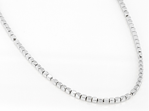 Sterling Silver 2MM Cube Chain 20 Inch Necklace
