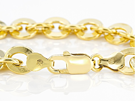 18K Yellow Gold Over Sterling Silver 9MM Rolo Link Bracelet