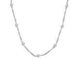 Sterling Silver Station Disco Ball 20 Inch Singapore Necklace
