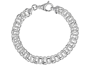 Sterling Silver Diamond-Cut 9MM Double Link Bracelet