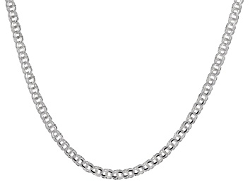 Picture of Sterling Silver Diamond-Cut 4.4MM Double Link Chain 18 Inch Necklace