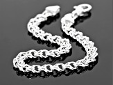 Sterling Silver Diamond-Cut 5.4MM Double Link Bracelet