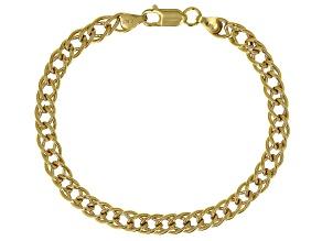 18K Yellow Gold Over Sterling Silver 6.50MM Double Grumette Link Bracelet