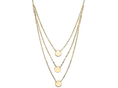 18K Yellow Gold Over Sterling Silver Three-Strand Circle 18 Inch Necklace