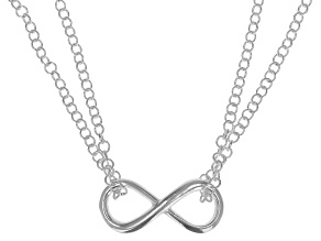 Sterling Silver Infinity Sign 18 Inch Necklace