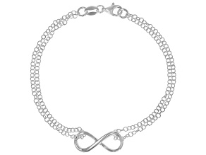 Sterling Silver Infinity Sign 7.5 Inch Cable Link Bracelet