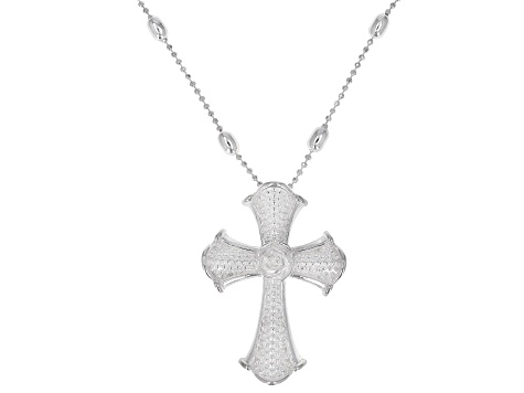 Sterling Silver Cross Rosary Style 20 Inch Beaded Station Necklace