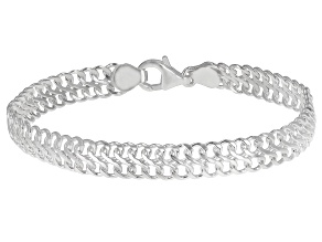 Sterling Silver 7.50MM Domed Infinity Link Bracelet